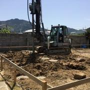 たたずまいのある城下町に建てる家...地盤改良工事が終了しました。